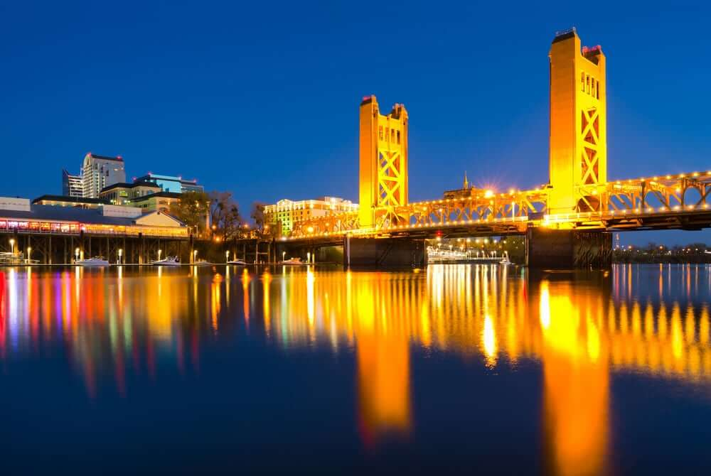 Sacramento Tower Bridge at Night